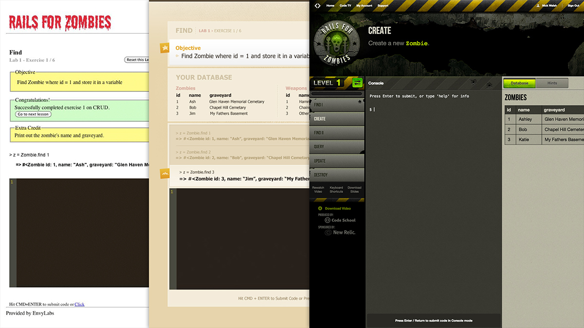 The progression of interface styles on Rails for Zombies